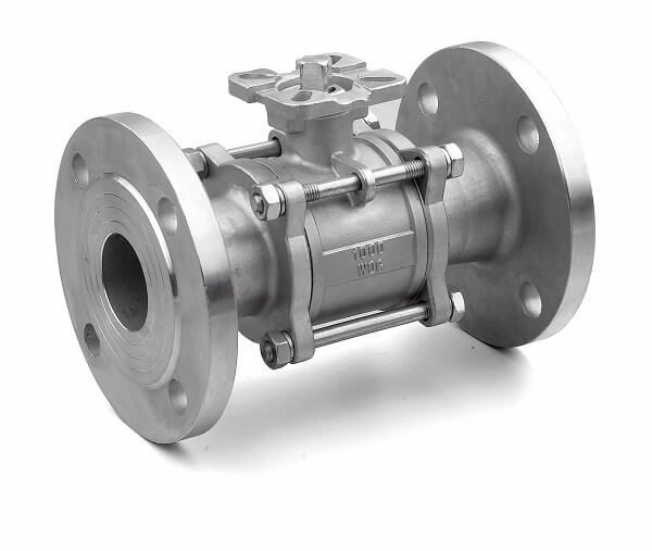 3PC Stainless Steel Flange Ball Valve With Pad