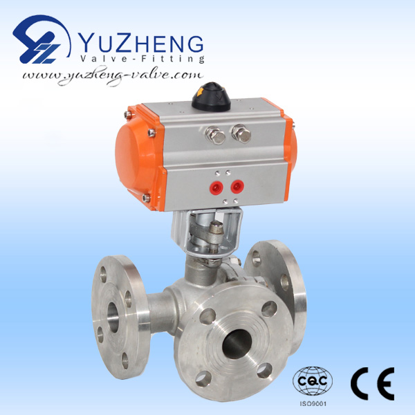 3Way Stainless Steel Ball Valve with Mounting Pad